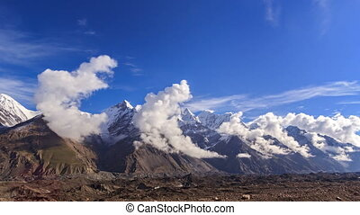Clouds over glacier Inylchek Kirgystan, central Tien Shan 4K...