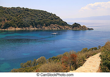 beautiful turquoise bay, Ammuliani island, Halkidiki, Greece...