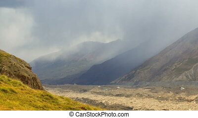 Rain in the mountains. Kirgystan, central Tien Shan -...