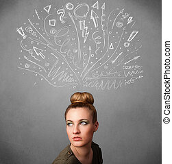 Young woman thinking with sketched arrows above her head