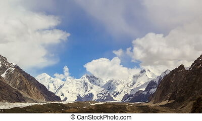 Clouds over glacier Inylchek Kirgystan, central Tien Shan