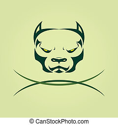 Vector image of head Dog Pitbull