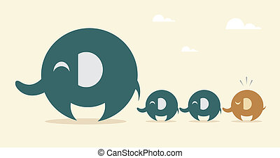 Mother elephant and baby elephant - Vector image of an...