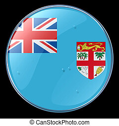 Fiji Flag Button, isolated on black background