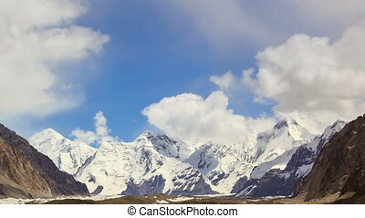Clouds over glacier Inylchek. Kirgystan, central Tien Shan