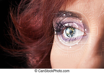 Cyber girl with technolgy eye looking - Modern cyber girl...