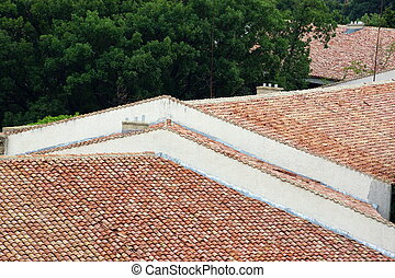 tiled roof and clay tiles