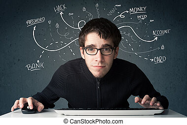 Young hacker with white drawn line thoughts - Young...