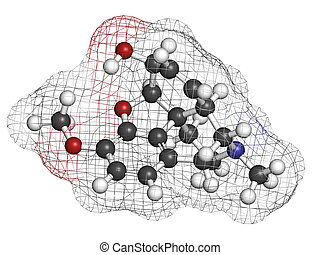 Codeine pain and cough relief drug, chemical structure....
