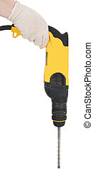 Perforator - Hand keep yellow perforator on white background