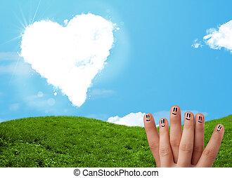 Coração, Dado forma,  smiley, Dedos, olhar, nuvem, Feliz