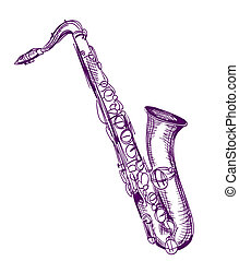 hand drawn classical alto saxophone