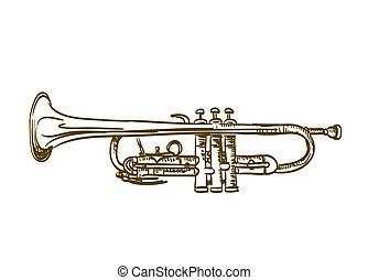 mão, desenhado, trompete, branca