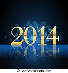 2014, ano, cartão, Ouro, azul