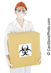 Scientist and biohazard - Scientist keep carton box with...