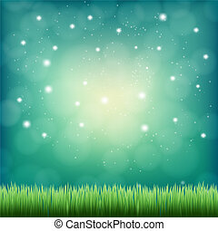 green grass under the night fantasy sky