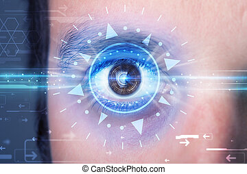 Cyber man with technolgy eye looking into blue iris - Modern...