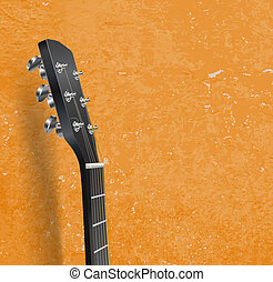 guitar neck on grunge background