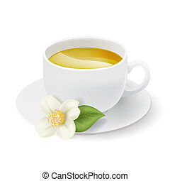 realistic white cup with herbal tea and jasmine flower