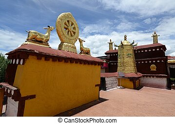 Golden roof of a lamasery in Tibet - Landmark of Golden roof...