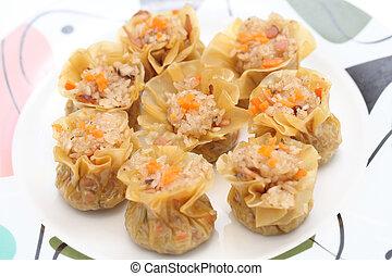 Glutinous Rice Dumplings - Close up of glutinous rice...