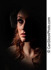 Portrait of beautiful girl - Low key portrait of beautiful...