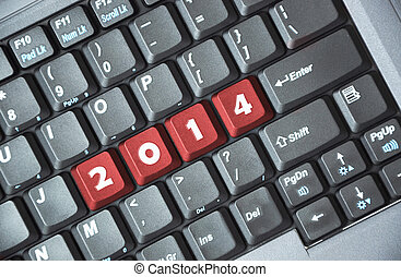 2014 on keyboard - Red 2014 key on keyboard
