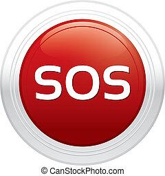 Sos button. Vector red round sticker.