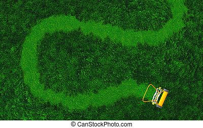 A push lawn mower draws a path - a top view of lawn where...