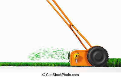 A side view of a push lawn mower at work - a side view of an...