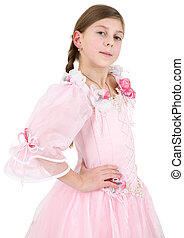 Girl in pinkish dress on a white background
