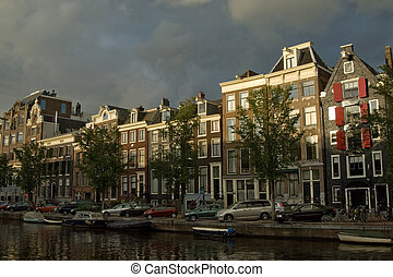 Traditional Amsterdam houses - Typical merchant houses along...