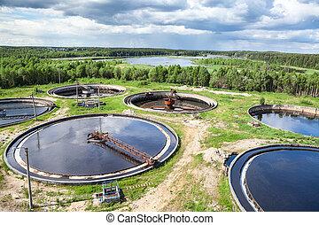Wastewater, tratamiento, planta, industrial, estructura,...