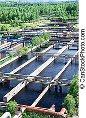 Floating surface aerators on sewage treatment plant