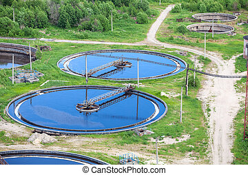 Sewage treatment with three stages, called primary,...