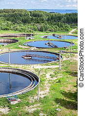 Top view of group of primary circular sedimentation tanks...