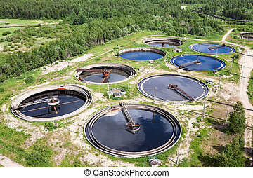 Aerial view of treatment of industrial wastewater