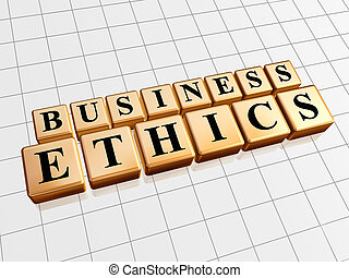 business ethics in golden cubes - business ethics - text in...