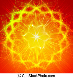 shining yellow lights like mandala - abstract yellow star...