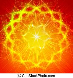 brilhar, amarela, luzes, semelhante, Mandala