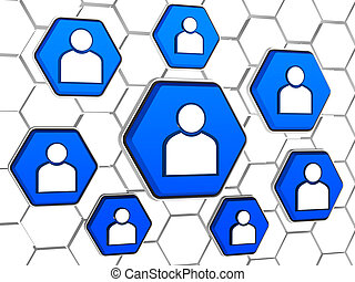 person signs in blue hexagons