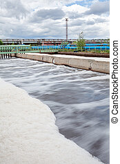 Aeration volumes for water in wastewater treatment plant....