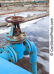 azul, soprando, oxigênio, válvula, água, portão, desperdício