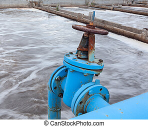 Industrial gate valve with blue pipeline for oxygen blowing...
