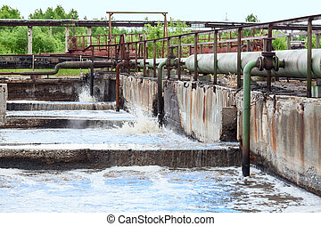 Pipelines for oxygen supplying into the sewage water in...