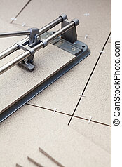 Manual tilecutter for cutting of ceramic granite lying on the floor