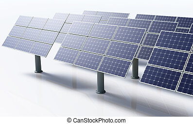 Solar panels in a white background