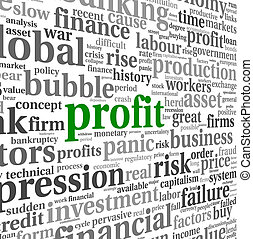 Profit and financial risk concept in info-text graphics on...
