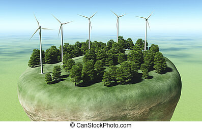 Wind generators on top of a terrain - view of a top portion...