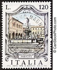 Fontana della Fortuna postage stamp - ITALY CIRCA 1979: a...
